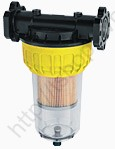 Cartridge filter with transparent container